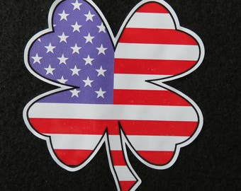 "America Flag Four Leaf Clover 3"" Decal"