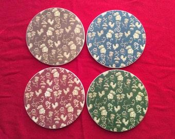 Americana Sandstone Coasters signed by Peggy Whiteaker, Set of 4 Vintage Sandstone Coasters