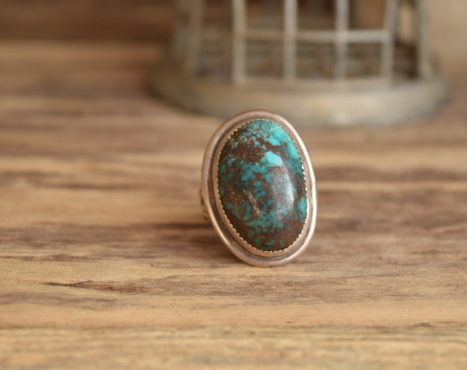Featured listing image: Large oval turquoise ring - Native rings - mermaid boho Turquoise jewelry boho chic, Native American Jewelry, bohemian rings, Indian Jewelry