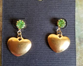 Heart post earrings with green rhinestone, vintage gold hearts, dangle hearts