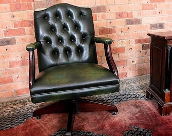 norwegian vintage office chair. Rare Forrest Green Vintage Chesterfield Captain Leather CEO Office Swivel Chair Norwegian