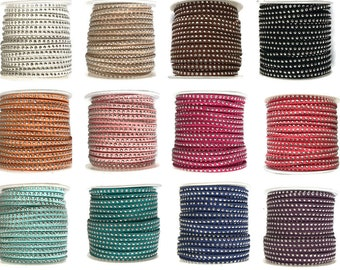 Faux Suede Cord, with Aluminum Cabochons Studs 3mm x 2mm - choose length