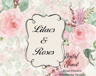 Floral Clip-art, Watercolor Rose Clip-art, Lilacs, Wedding Idea Bouquets, Rose and Lilac Bouquets, Shabby Pink Roses. No. Com.WC2