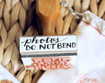 Photos Do Not Bend Rubber Stamp, Photography Stamp, Packaging Mail Stamp, Cute Photographer Gift, Hand Lettered Calligraphy Shop Stamp