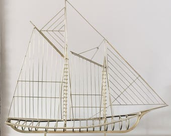 Curtis Jere Brass Ship Sculpture - Signed