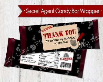 Secret Agent Chocolate Candy Bar Wrapper - Instant Download
