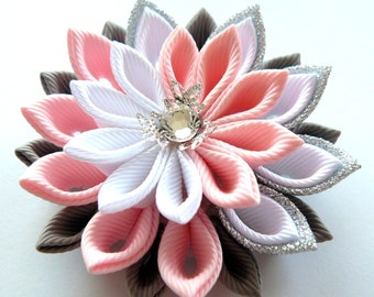 Kanzashi  fabric flower brooch . Pink, white, grey and silver
