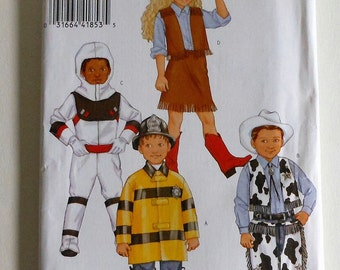 Astronaut Cowgirl Cowboy  Fireman Costume Sewing Pattern UNCUT Size 2 Toddler