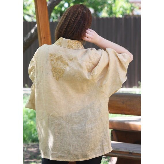 Beige in ornament with Shirt style women's sleeves puffed Boho with oriental sleeve embroidered blouse Vyshyvanka linen with rvwBqr