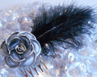 Black feather and flower wedding hair comb