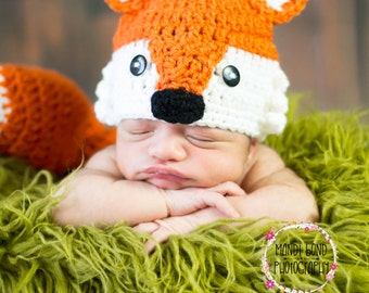 Baby Crochet Fox Hat Fox HAT ONLY Baby Girl Baby Boy Fox Hat newborn Fox Outfit Fox Set Fox Photo Prop