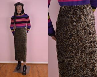 90s Velvet Burnout Skirt/ 24 Waist/ 1990s