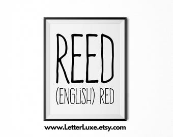 Reed Name Meaning Art - Printable Baby Shower Gift - Nursery Printable Art - Digital Print - Nursery Decor - Typography Wall Decor