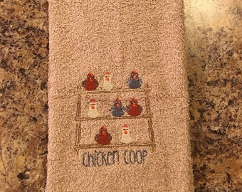 Embroidered ~CHICKEN COOP~ Kitchen Bath Hand Towel