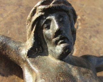 Antique French  Solid Bronze Christ, Crucifix, Corpus Christ, Religious, Devotional 19thC