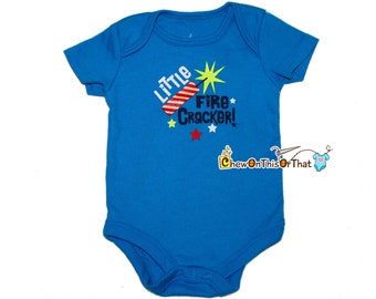 Little Fire Cracker Personalized Blue Short Sleeve Baby First Independence Day Statement Onesie - Fourth of July Photo Prop Bodysuit, Shirt