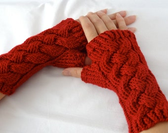 DISCONTINUED Ruby Red Merino Fingerless Gloves, Wool Wrist Warmers, Handmade Cabled, Knotted Up Gloves