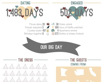 Fully Customizable Infographic Wedding Program - Digital Download