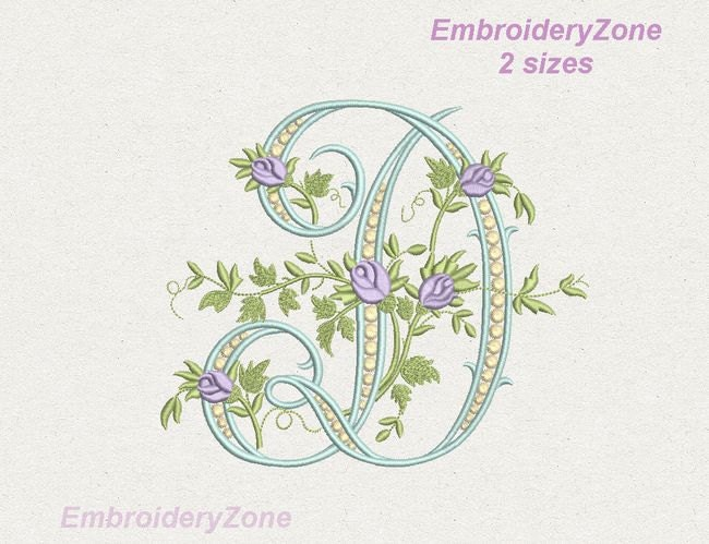 d monogram machine embroidery design letter d from beautiful