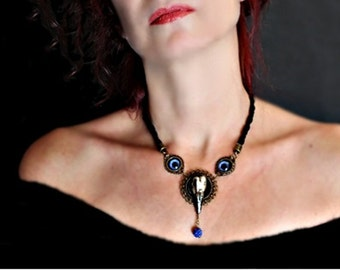"Necklace Choker style Gothic skull of bird OOAK collection ""Birds"""