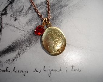 Vintage Brass Locket and Vintage Red Swarovski Necklace,  Flower Etchings, Vintage Brass Chain,  Swarovski Accents, Romantic