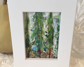 Original Fir Tree Painting, Home Decor, Kitchen, Bedroom, Fir Tree, Hand painted, Winter Trees, Snow Scene, Miniature, Color