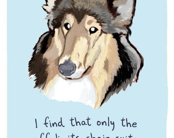 Collie 8x10 Print of Original Painting with phrase
