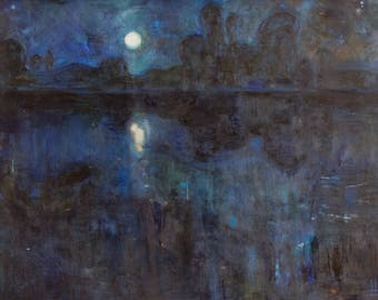 Original Art Oil Painting. Moonlight night landscape. Stars Reflection On Water. River shore. Blue ultramarine modern oil painting. 2016.