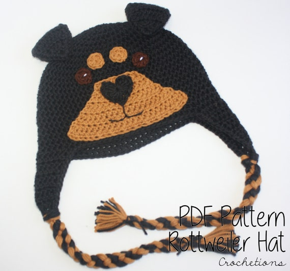 Crochet Pattern Rottweiler Hat Dog Breed Beanie Puppy Hat Dog