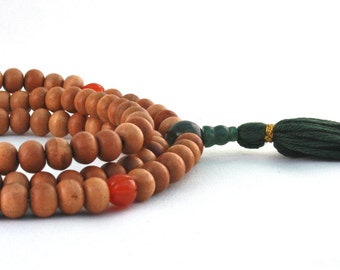 Sandalwood Mala Prayer Beads w Carnelian, Moss Agate & Bloodstone - Buddha Beads