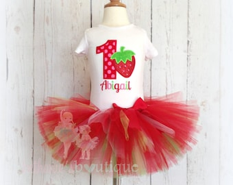 Strawberry birthday outfit - 1st birthday strawberry outfit - strawberry themed tutu outfit - birthday outfit - strawberry tutu