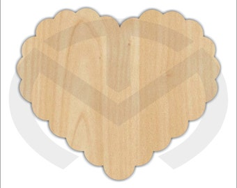Heart - Scalloped - 01591- Unfinished Wood Laser Cutout, Door Hanger, Wreath Accent,  Ready to Paint & Personalize, Various Sizes