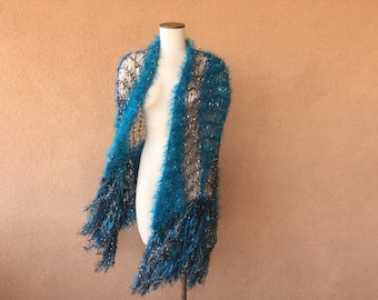 Turquoise Shawl Teal and Black Shawl with Silver Wrap Accessories Stevie Nicks Clothing Women Shawl Wraps Shoulder Wrap Shoulder Shawl Women
