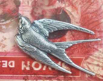 Sparrow Brass Stamping, Sterling Silver Finish, Jewelry Supplies Made in the USA, Brass Stampings