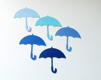 """Blue Umbrella die cuts - 2"""",2.5"""",3"""",3.5"""" -  Party, Baby Shower, Place Card, scrapbooking, crafts"""