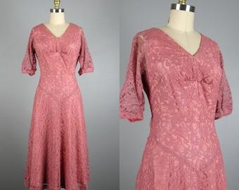 Vintage 1940s 1950s Dress 40s 50s Pink Lace Cocktail Dress Size M 30 Waist
