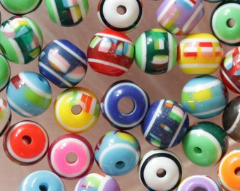 set of 10 round beads multicolor