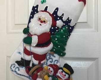 """Finished 18"""" Bucilla Christmas Stocking"""