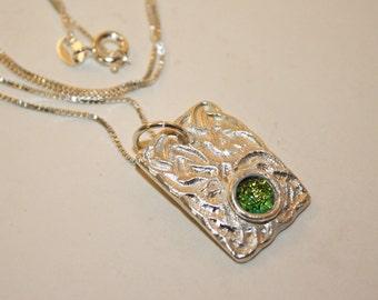 Silver Clay Dichroic Glass Pendant