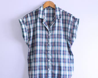 Vintage 1980's Purple + Teal + Yellow Plaid Camp Shirt M