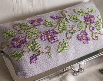 Handmade, hand embroidered clutch handbag. Violet, green. WOOD VIOLETS by Lella Rae on Etsy