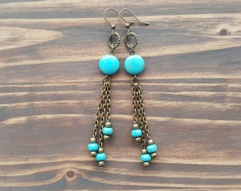 Long turquoise earrings. Bronze dangle earrings. Bohemian turquoise earrings. Boho earrings. Gemstone earrings. Long chain earrings.