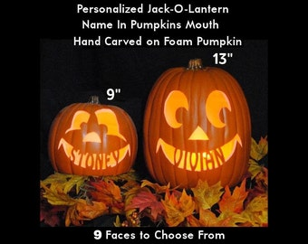 Personalized Custom Carved Foam Pumpkin - Name in the Pumpkins Mouth - Plug In Light with Switch Included.