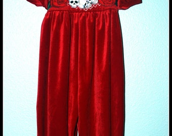 Girls Rockabilly Gothic Red Velvet Jumper Skulls and Roses ........Size 2