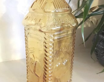 Perrine's Apple Ginger Philadelphia Amber Glass Bottle DEPOT No 37 / Farmhouse Colored Glass Bottle Kitchen Decor / Whimsical Vase
