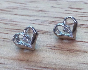 14K Yellow Or White Diamond Heart Earrings: Has Matching Pendant + Ring