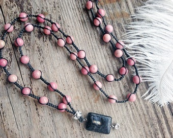 Rhodonite necklace / Long beaded necklace / Braided necklace / Cord gemstone necklace / Agate pendant necklace / Braided cord necklace