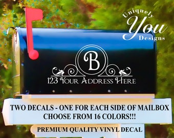 Mailbox Decal #2 - Custom Personalized Vinyl Mailbox Decal  - SET OF 2 - 16 Colors To Choose From!