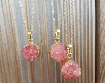Pink rose druzy necklace, Mom gift, Bridesmaid necklace, Bridal party jewelry, Rose necklace, Druzy necklace, Mothers day gift, Gift for mom