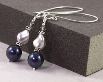 Pearl Earrings Midnight Blue Gray Navy Fancy Sterling Silver Ear Wires Mothers Day Jewelry